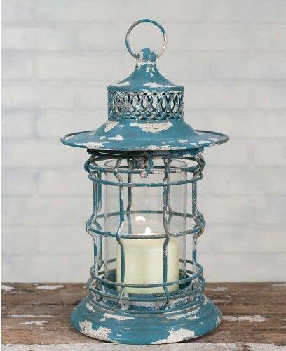 "Bayside Candle Lantern, 13"" Tall, Aqua Blue Rustic Metal and Glass-Lakeside Lant"