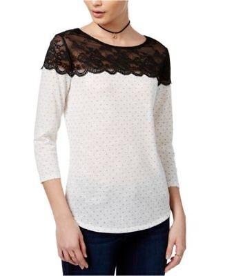 Maison Jules Size S Polka Dot Lace Yoke Top White Black Combo