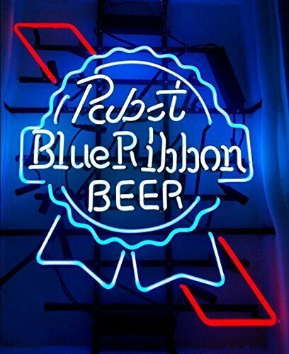"Pabst Blue Ribbon Neon Sign 20""x16"" Light Lamp Beer Bar Pub Wall Decor Glass"