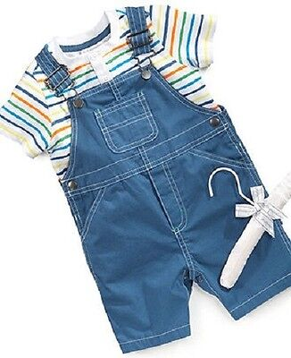 First Impressions 2 Piece Shorts Overalls & Henley Shirt Set ~ New With Tags  2 Piece Overall Short