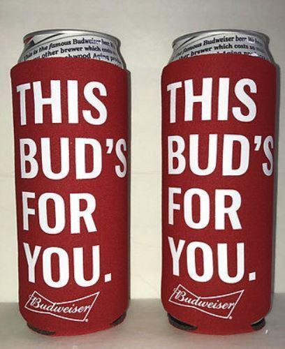NEW Lot of 2 BUDWEISER 25oz Beer Koozie Coolie Cooler fits 24 OZ BUD LIGHT CAN