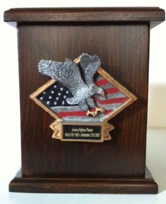 American Flag and Soaring Eagle Wooden Cremation Urn w/ Engraving, Adult Urn