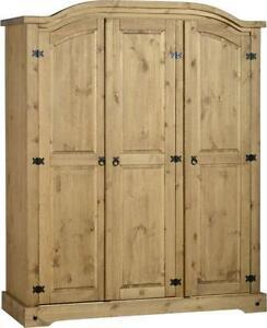 3 Door Pine Wardrobe
