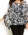 Poncho Black Floral Sweaters for Women