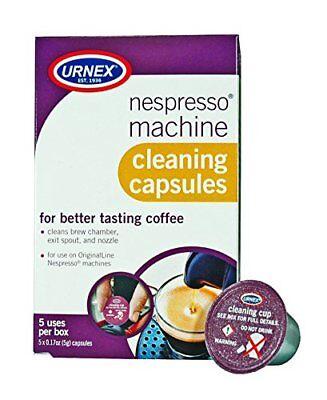 Urnex Nespresso Machine Cleaner - 5 Pods - Coffee Maker Cleaner Pods Cleans B...