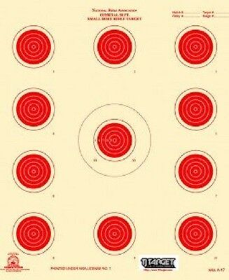 A-17 NRA Official 50 Foot small bore rifle target, (red) (100 count) -