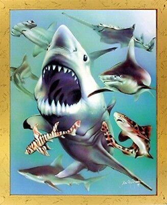 White Sharks Collage Ocean Animal Kids Room Wall Golden Framed Picture (18x22)