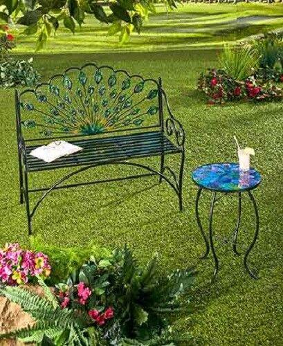Peacock Metal Bench or Accent Table Outdoor Patio Porch Deck