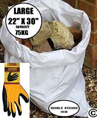 20 x Tough Woven Polypropylene Builder Rubble Sacks Bags +FREE PAIR WORK GLOVES
