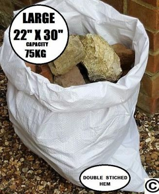 10 X RUBBLE SACKS WOVEN LARGE EXTRA HEAVY DUTY  SAND BAG POLYPROPYLENE BUILDER
