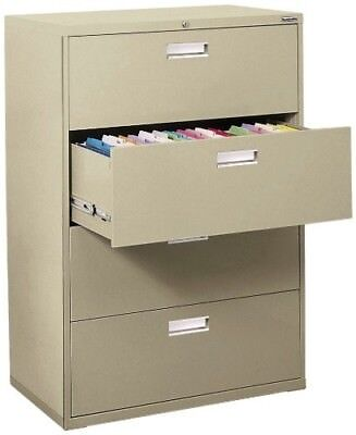 New Sandusky Lee 4 Drawer 600 Series Lateral Filing Cabinet In Putty Or Black