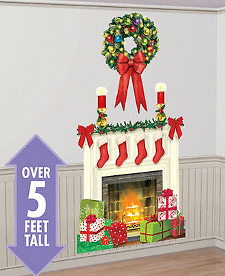 HOLIDAY HEARTH Scene Setter Christmas party wall decor kit 5' fireplace stocking - Christmas Wall Scenes