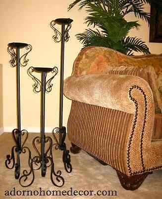 Wrought Iron Floor Candle Holders Set Metal Tall Standing Rustic Unique Style