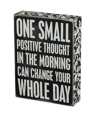 Wood Paint Quote Positive Thinking Box Sign Desk Office