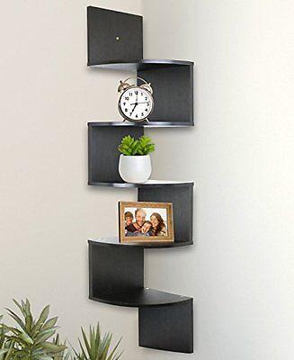 Greenco Wall Mount Corner Floating Shelves Hanging Espresso