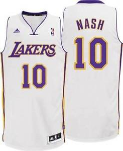d9149ee09 los angeles lakers 10 steve nash gray with black pinstripe jersey