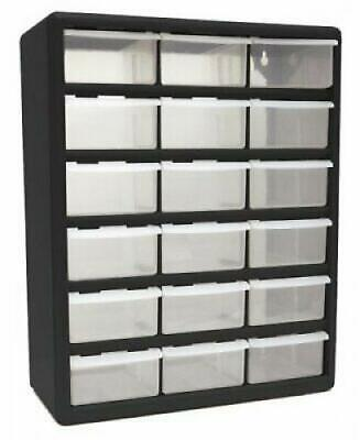 18 Plastic Cabinet Drawers Bins Garage Tools Parts Organizer Large Storage Boxes