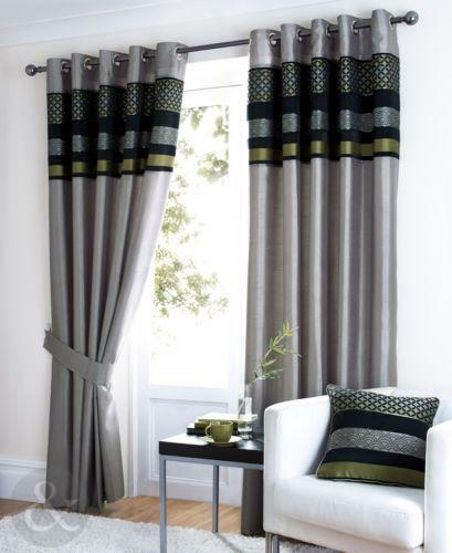 Cotton Canvas Black Eyelet Lined Curtain: Grey Green Curtains