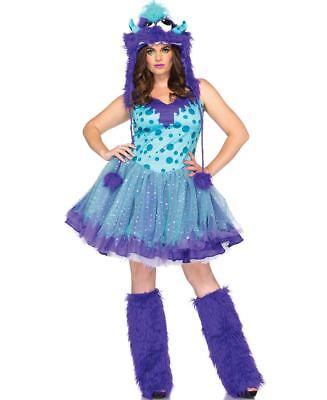 Plus Queen Size Polka Dotty Monster Rave Adult Women Halloween Costume Tutu Hood