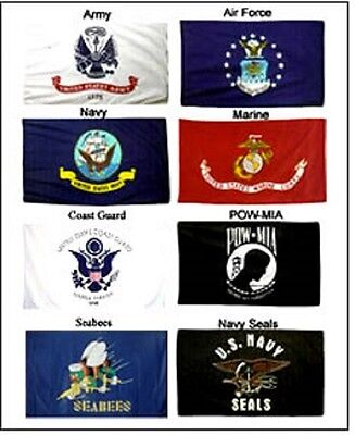 Lot 3x5 ft 5 Branches Military Set Navy Seals & Seabees PowMIA Flags Flag Set