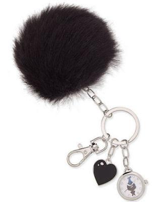 DreamWorks Trolls NWT Faux Fur Black Pom Pom Keychain Watch Charm Purse Puff NIB