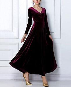 NEW Fashion Winter Autumn Dress Women's Velvet Long-sleeve V-neck Maxi Dress