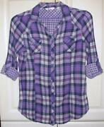 Womens Plaid Button Down Shirt