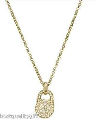 MICHAEL KORS GOLD,CRYSTAL PAVE ENGRAVED LOCK PENDANT NECKLACE MKJ2267+MK POUCH