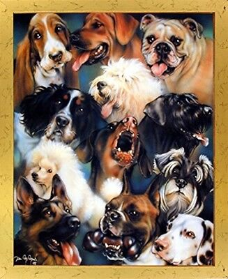 Collage of Dogs Breeds Cute Animal Kids Room Wall Decor Golden Framed Picture