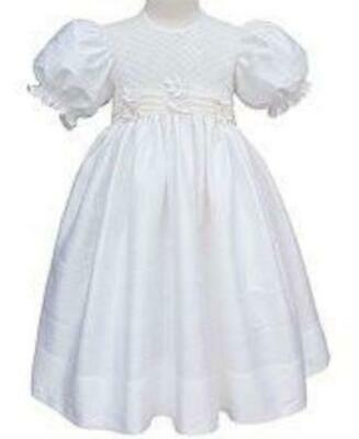 Baby Girls Christening Silk Dress Hand Smocked Silk Flowers Baptism Gown 16859