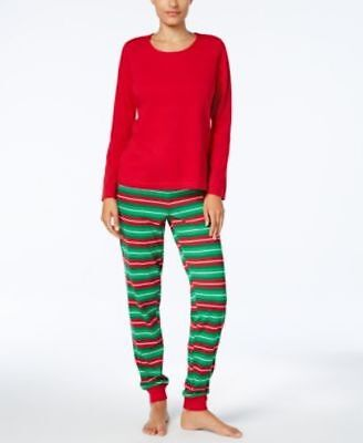 Family PJs Women's Pajama Set Mix-it Knit Holiday Tee & Pants Size L MSRP - Family Pajama Pants