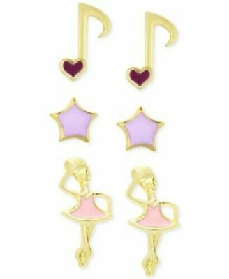 3 Piece Set Enamel Dance Stud Earrings in 18k Gold Plated Sterling Silver