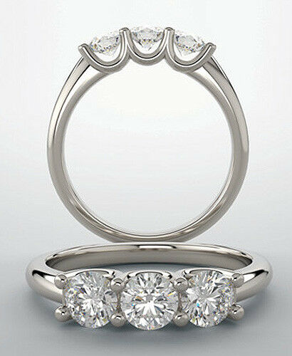 2.10 carat 3 Stone Round Diamond GIA G SI1 clarity Wedding Ring 14k White Gold 1