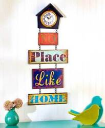 Sentiment No Place Like Home Rustic Wall Clock Colored Birdhouse Wall Clock