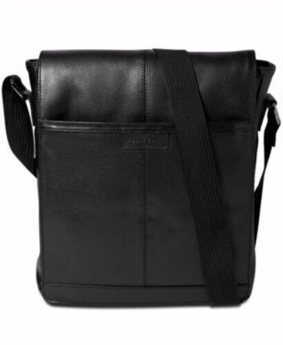 Perry Ellis Bag North South Leather Cross Body BLACK OS Messenger Tote