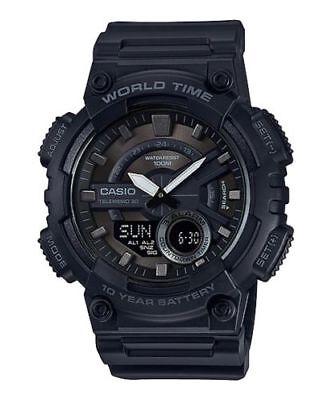 Casio AEQ110W-1BV, Men's Databank 30 Watch, 100M, 3 Alarms, Chronograph, Resin Alarm Chronograph 100m Mens Watch