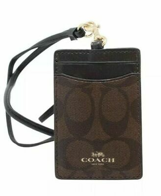COACH F63274 Men ID Cards Badge Holder Lanyard in Black/Brown PVC Sport New (Mens Badge)