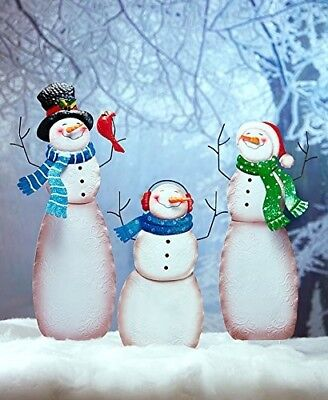Snow Family Yard Stake Snowman Frosty Figure Christmas Holiday Art Home Decor