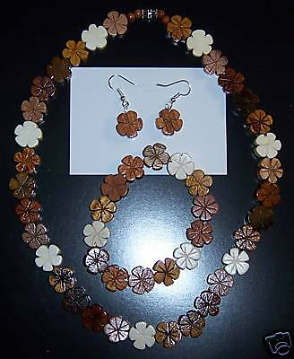 Koa Color Plumeria Wood Flower Necklace, Bracelet & Earring Set Hawaiian Hawaii