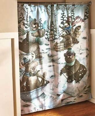 Winter Fun Moose Bear Shower Curtain Lodge Cabin Bath Set Towels Rug Cabin -