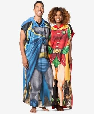 Briefly Stated Batman Robin Couple's Superhero Poncho Costume Loungewear $90