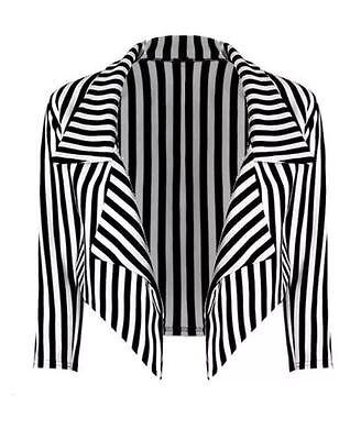Damen Halloween Thema Schwarz & Weiß Streifen Jacke Kurzer Blazer und Größe 8 - Kostüm Schwarzen Und Weißen Streifen