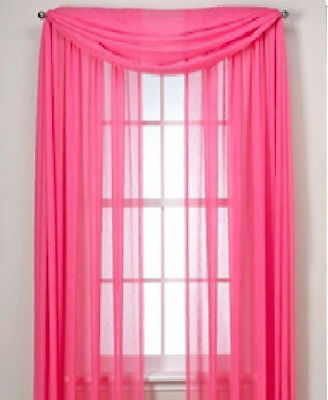 HOT PINK SCARF SHEER VOILE WINDOW CURTAIN DRAPES VALANCE MANY SIZES AVILABLE ()