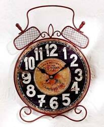 Rustic Wooden Alarm Shape Vintage Wall Clock Retro Scrolled Metal Alarm Clock