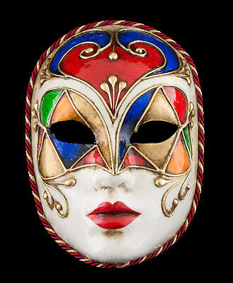 Mask Venice Face Volto Tutti Frutti Red Paper Mache Gold Embellishment 1757 VG2