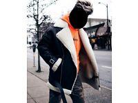ASOS Longline faux shearling biker jacket SMALL S M 36 38 40 black Mens leather Medium acne cream