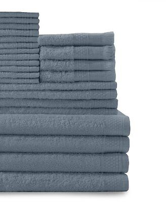 24 Piece Multi Count 100perscent Cotton Complete Towel Set, Smoke Blue New