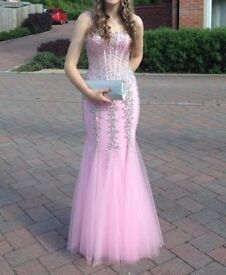Pink Sequin Prom Mermaid Dress Size 8-10