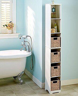(Slim Narrow Storage Tower Cabinet Bathroom Tall Adjustable Shelves Wood 6 Tier )