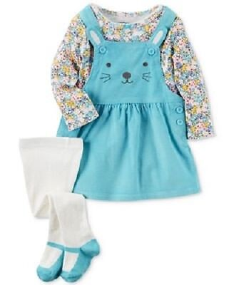 NWT Carters Baby Girls 3 Piece Floral Tee & Bunny Jumper Dress EASTER 3 or 6 Mo.